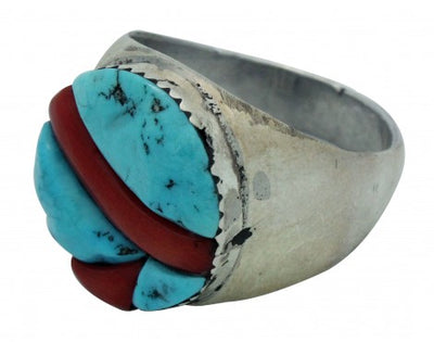 Load image into Gallery viewer, Virginia Quam, Ring, Sleeping Beauty Turquoise, Mediterranean Coral, Zuni, 12
