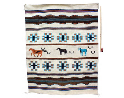 Load image into Gallery viewer, Nellie Glasses, Pictoral All Natural Rug, Navajo Handmande, 59 in x 75 in