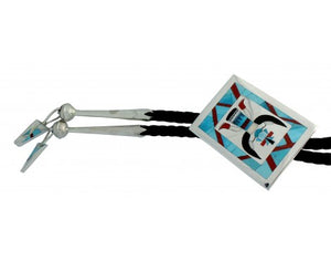 Harlan Coonsis, Bolo, Knifewing, Inlay, Leather, Silver, Zuni Handmade, 42 in