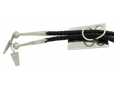 Load image into Gallery viewer, Harlan Coonsis, Bolo, Knifewing, Inlay, Leather, Silver, Zuni Handmade, 42 in