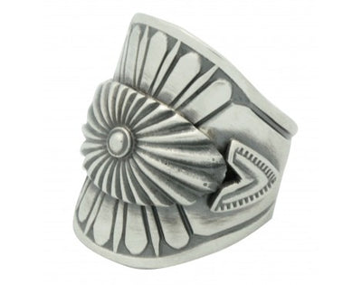 Load image into Gallery viewer, Derrick Gordon, Ring, Silver Applique, Oval Cutout, Navajo Handmade, 8