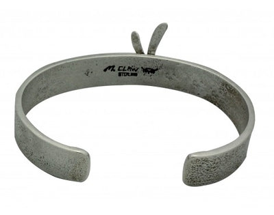 Load image into Gallery viewer, Monty Claw, Bracelet, Dragonfly, Tufa, Narrow, Silver, Navajo Handmade, 6.25 in