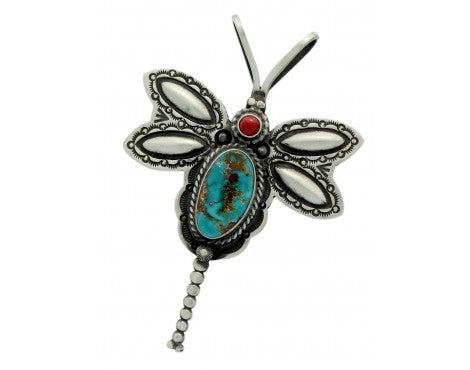 Herman Smith, Pin, Pendant, Dragonfly, Turquoise, Coral, Navajo Handmade, 3.25