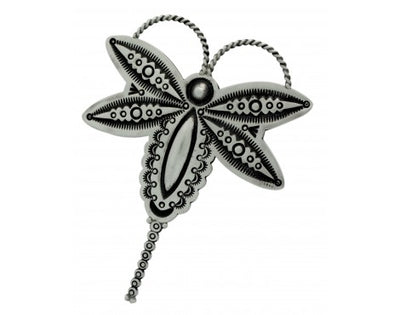 Load image into Gallery viewer, Herman Smith, Pin, Pendant, Dragonfly, Stamping, Silver, Navajo Handmade, 3.5 in
