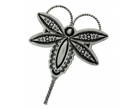 Herman Smith, Pin, Pendant, Dragonfly, Stamping, Silver, Navajo Handmade, 3.5 in