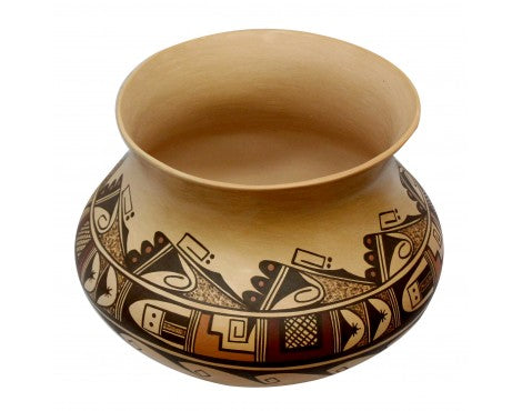 Dee Setalla, Bowl, Hand Coiled Pottery, Hopi Handmade, 10 in x 12.5 in