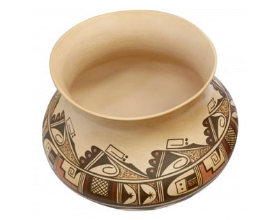 Load image into Gallery viewer, Dee Setalla, Bowl, Hand Coiled Pottery, Hopi Handmade, 10 in x 12.5 in