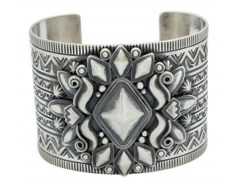 Derrick Gordon, Bracelet, Wide, Applique, Sterling Silver, Navajo Handmade, 7 in