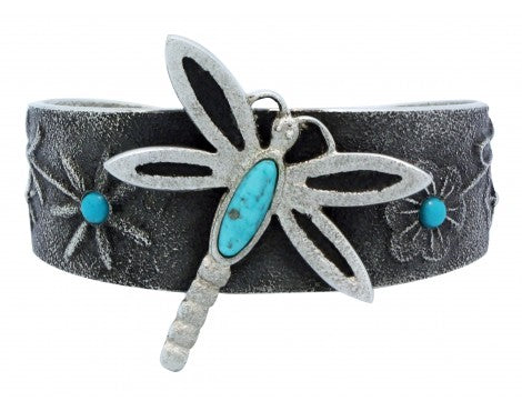 Lee Begay, Bracelet, Dragonfly Design, Tufa Cast, Silver, Navajo Handmade, 6 in