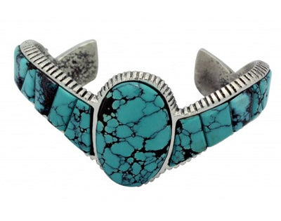 Load image into Gallery viewer, Lester James, Bracelet, Chinese Turquoise, Tufa, Silver, Navajo Handmade, 6.75