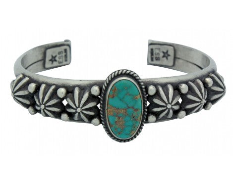Edison Sandy Smith, Bracelet, Pilot Mountain Turquoise, Silver, Navajo Made, 7in