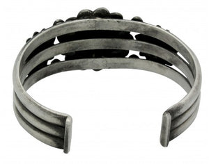 Edison Sandy Smith, Bracelet, Stamping, Sterling Silver, Navajo Handmade, 7 in