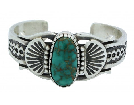 Leon Martinez, Bracelet, Carico Lake Turquoise, Sterling Silver,Navajo Made,6.25