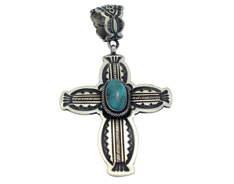 Leon Martinez, Pendant, Morenci Turquoise, Sterling Silver, Navajo Made, 3.75 in