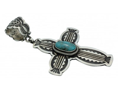 Load image into Gallery viewer, Leon Martinez, Pendant, Morenci Turquoise, Sterling Silver, Navajo Made, 3.75 in