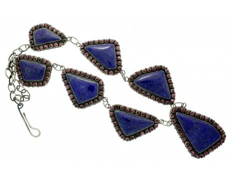 Anthony Skeets, Necklace, Lapis, Spiny Oyster Shell, Silver, Navajo Made, 31 in