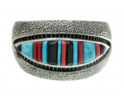 Load image into Gallery viewer, Harrison Jim, Multi-stone Inlay Cuff, Tufa Cast, Sterling Silver, Signed