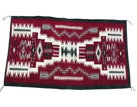 Brenda Willson, Red Storm Pattern Rug, Navajo Handwoven, 61 in x 36 in