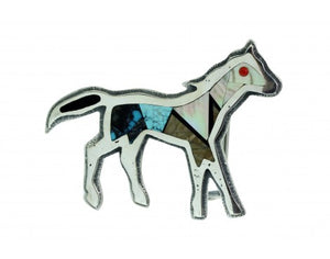Monty Claw, Belt Buckle, Tufa Cast, Horse, Inlay, Sterling, Navajo Made