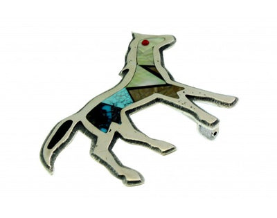 Load image into Gallery viewer, Monty Claw, Belt Buckle, Tufa Cast, Horse, Inlay, Sterling, Navajo Made