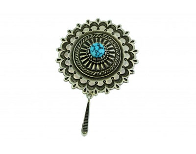 Load image into Gallery viewer, Ron Bedonie, Pin, Traditional Navajo Stamping, Sterling Silver, Kingman