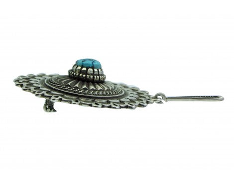 Ron Bedonie, Pin, Traditional Navajo Stamping, Sterling Silver, Kingman