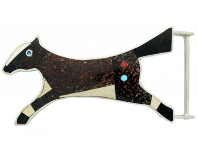 Load image into Gallery viewer, Monty Claw, Buckle, Running Horse, Inlay, Sterling Silver, Navajo Handmade