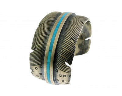 Load image into Gallery viewer, Melvin Francis, Bracelet, Sterling Silver, Feather Design, Navajo Handmade, 6.5