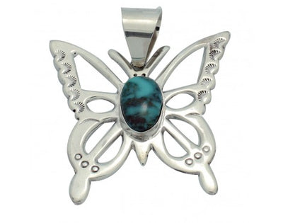Load image into Gallery viewer, Mildred Parkhurst, Pendant, Butterfly Design,Turquoise Mountain,Navajo Made,2.25
