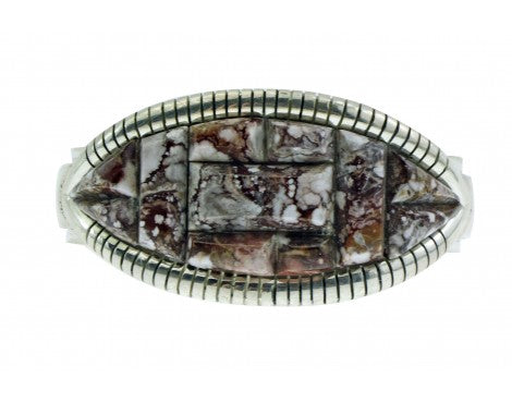 Melvin Francis, Eugene Chee, Bracelet, Inlay, Wild Horse, Sterling, Navajo 6 5/8