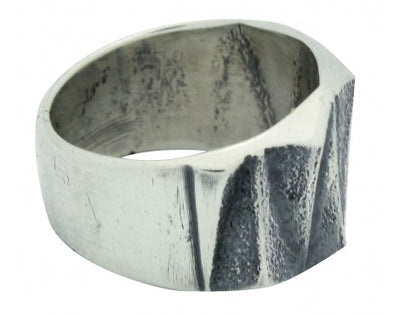 Load image into Gallery viewer, Kevin Yazzie, Ring, Tufa Cast, Sterling Silver, Repeating Pattern, Navajo, 11.5
