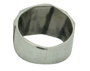 Kevin Yazzie, Ring, Tufa Cast, Sterling Silver, Repeating Pattern, Navajo, 11.5
