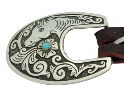 Load image into Gallery viewer, Lee Charley, Ranger Buckle, 3 Pieces, Kingman Turquoise, Horse Design, .75 in