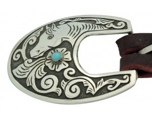 Lee Charley, Ranger Buckle, 3 Pieces, Kingman Turquoise, Horse Design, .75 in