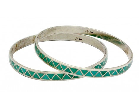 Claudine Haloo, Bangle Bracelet, Multi Stone, Sterling, Zuni Handmade