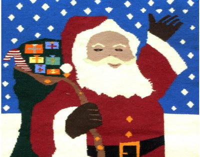 "Load image into Gallery viewer, Wenora Joe, Christmas Pictorial, Navajo Handwoven Rug, 35"" x 51"""