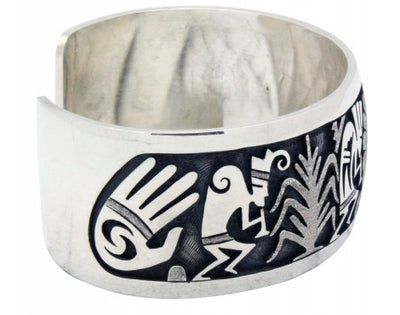Load image into Gallery viewer, Berra Tawahongya, Bracelet, Surface, Kokopelli, Silver, Hopi Handmade 6.75