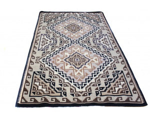 "Maggie Ethel, Two Grey Hills Rug, Navajo Wool, Contemporary, 118"" x 69"""
