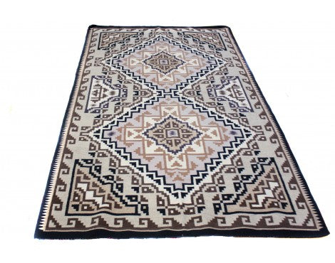 Maggie Ethel, Two Grey Hills Rug, Navajo Wool, Contemporary, 118