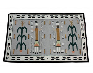 "Mary Jim, Yei Rug with Cornstalk, Navajo Wool, Contemporary, 61"" x 38.5"""