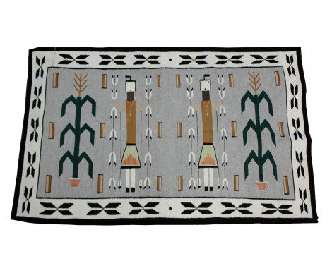 Mary Jim, Yei Rug with Cornstalk, Navajo Wool, Contemporary, 61