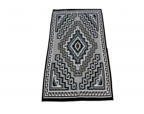Loraine McDonald, Two Grey Hills Rug, Navajo Wool, Contemporary, 76 x 44