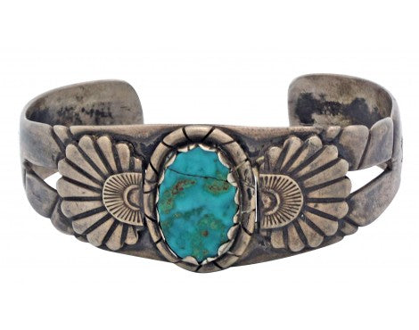 Antique Navajo Bracelet, Circa 1940s, Blue Gem Turquoise, Cracked Stone, 7 in