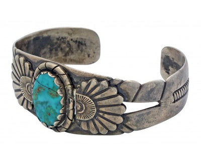 Load image into Gallery viewer, Antique Navajo Bracelet, Circa 1940s, Blue Gem Turquoise, Cracked Stone, 7