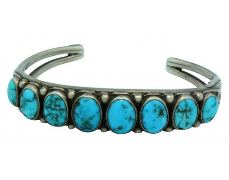 Antique Collection, Bracelet, Navajo Made, Nevada Turquoise, Crack in Silver,6.5