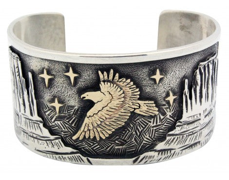 Arland Ben, Bracelet, 14k, Sterling Silver, Eagle, Monument Valley, Navajo 7