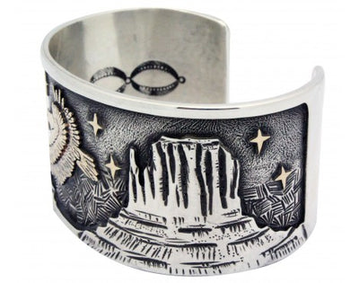 Load image into Gallery viewer, Arland Ben, Bracelet, 14k, Sterling Silver, Eagle, Monument Valley, Navajo 7