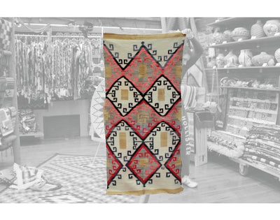 "Load image into Gallery viewer, J.B. Moore Style Rug, Rug Period, Navajo Wool,Circa 1920, 70"" x 34"""