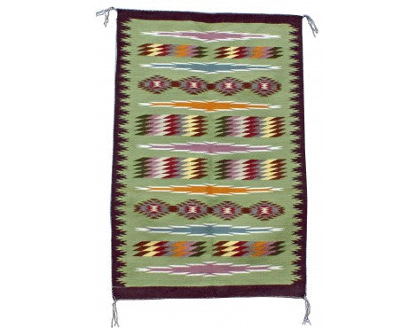 Elsie Morgan, Wide Ruins, Navajo Handwoven Rug, 28 in x 42 in