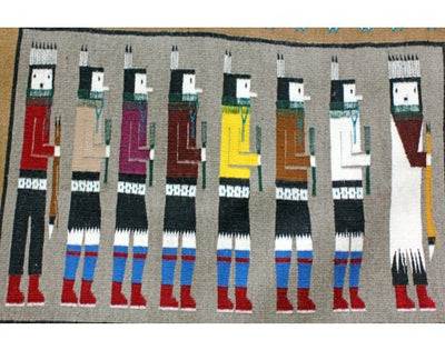 Load image into Gallery viewer, Anna Grey, Yei Bi Chi Rug, Navajo Handwoven, 35 in x 48 in